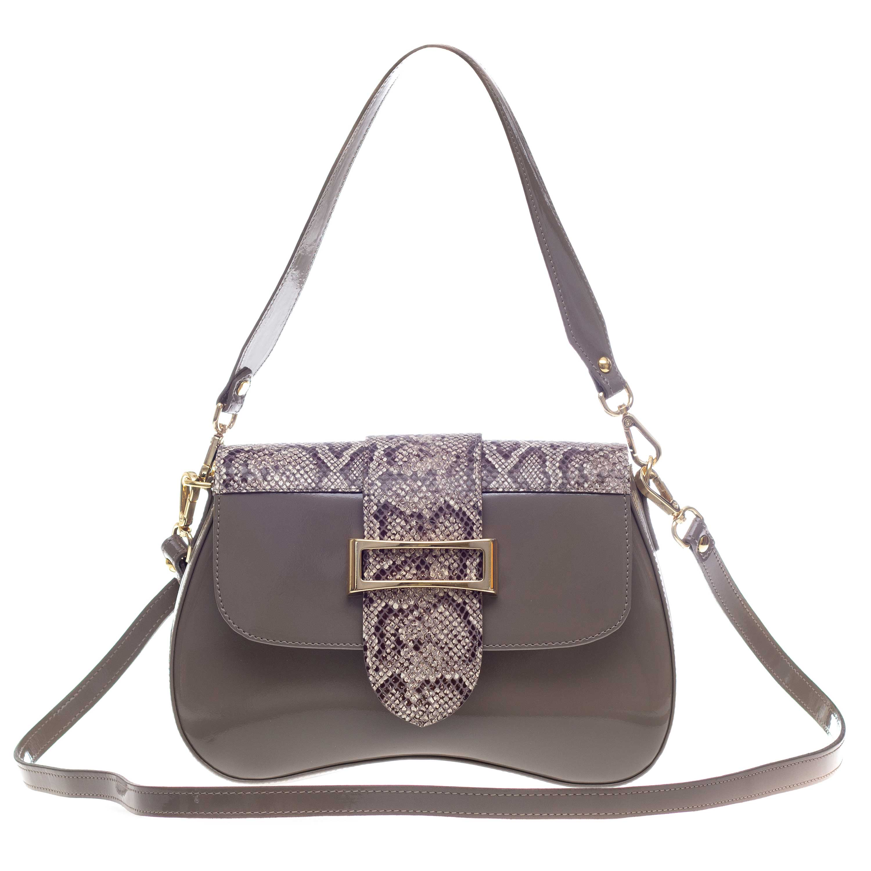 AURA Italian Made Taupe Patent Leather Small Crossbody Purse