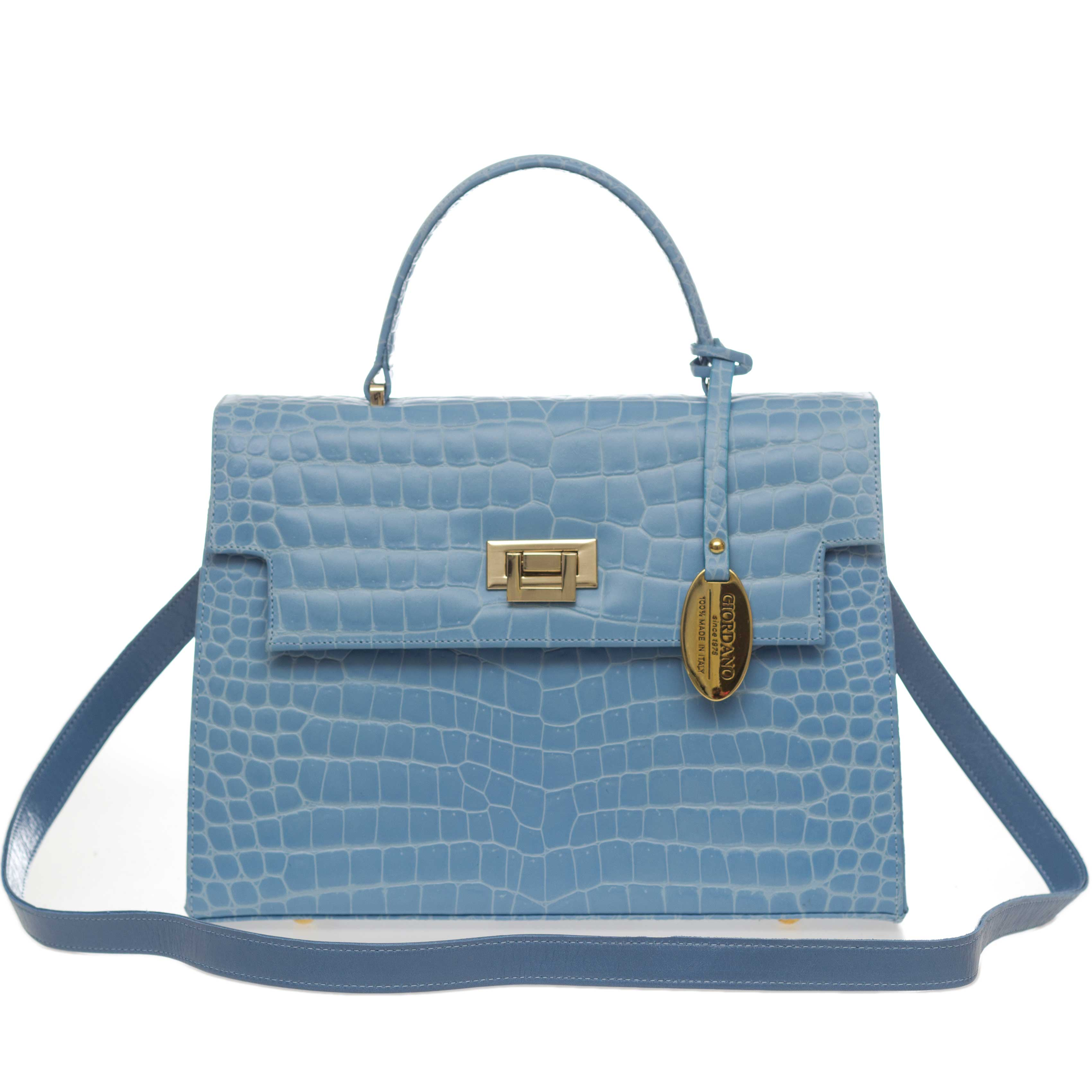 Giordano Italian Made Sky Blue Crocodile Embossed Leather Purse