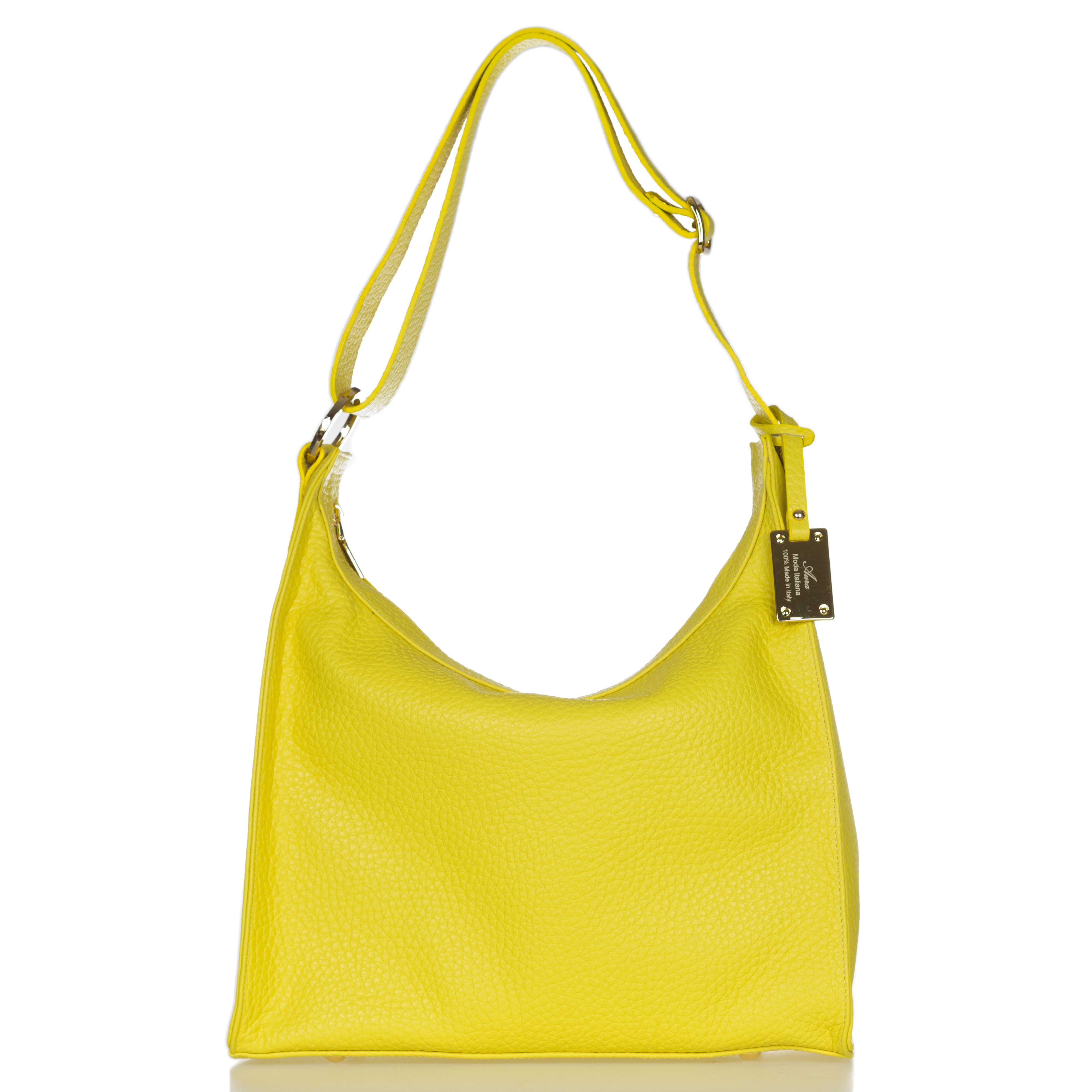 AURA Italian Made Lime Yellow Pebbled Leather Large Hobo Bag