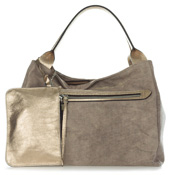 Gianni Chiarini Italian Made Metallic Champagne Canvas Large Zip Pocket Carryall Tote Handbag with Pouch