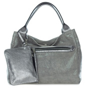 Gianni Chiarini Italian Made Metallic Silver Canvas Large Zip Pocket Carryall Tote Handbag with Pouch