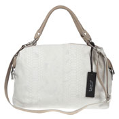 Carol J. Italian Made White Snake Embossed Large Leather Satchel Bag