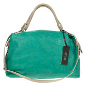 Turquoise Green Snake Embossed Leather Satchel Made in Italy by Carol J.