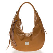 Medichi Italian Made Saddle Brown Leather Zip Front Pocket Large Hobo Bag