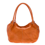 Cosette Italian Made Orange Soft Leather Hobo Shoulder Bag