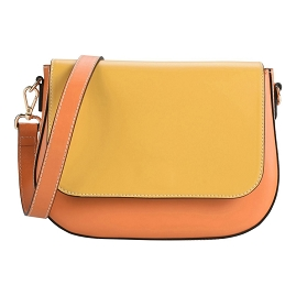 8essential Italian Made Mustard Orange Leather Small Flap Crossbody Bag