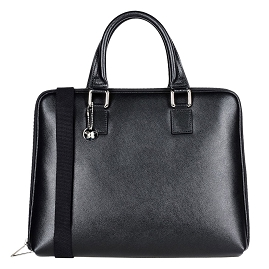 Laura Di Maggio Italian Made Black Leather Laptop Briefcase