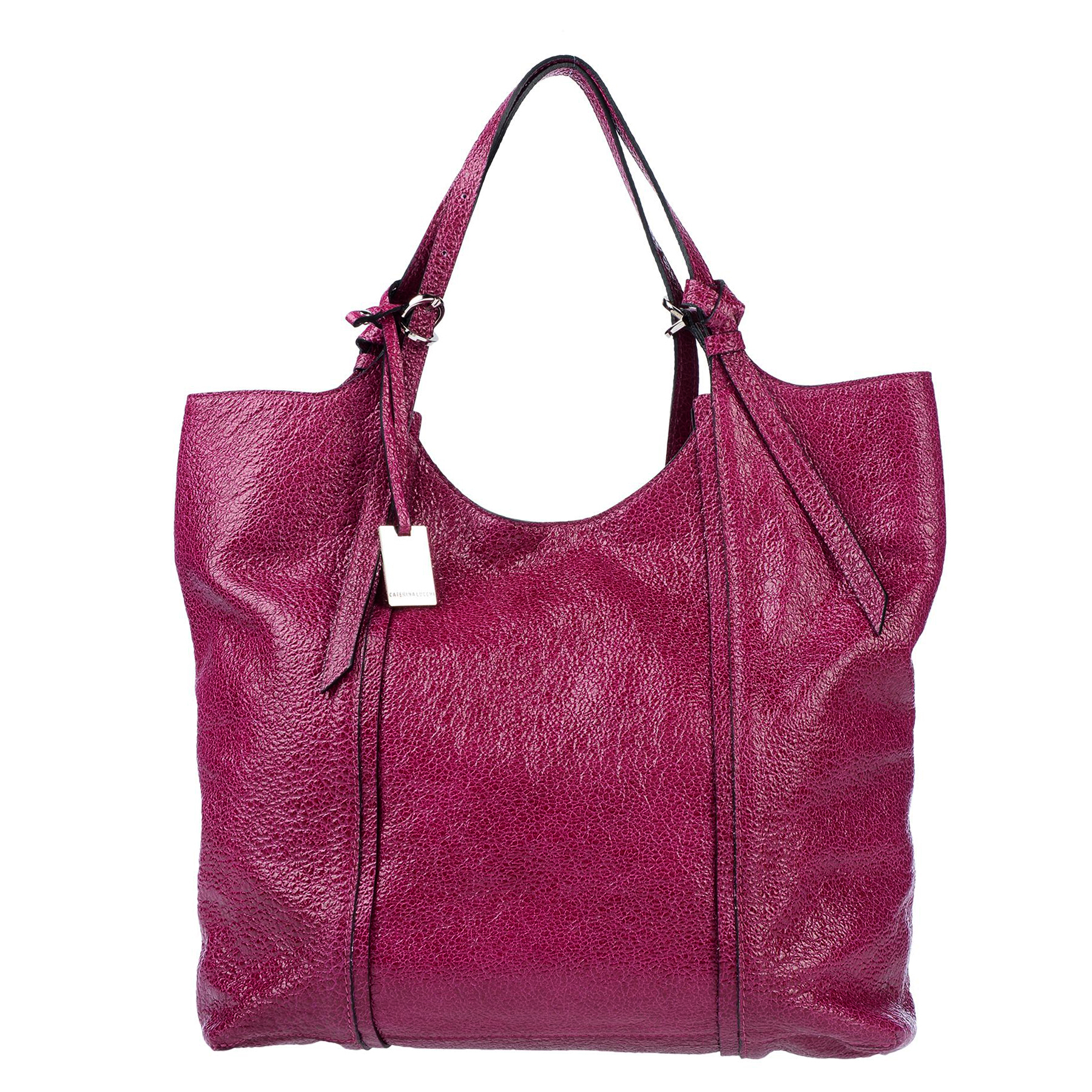 Caterina Lucchi Italian Made Magenta Red Glazed Leather Large Carryall Tote