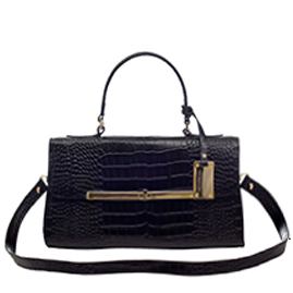 AURA Italian Made Black Crocodile Embossed Leather Small Purse