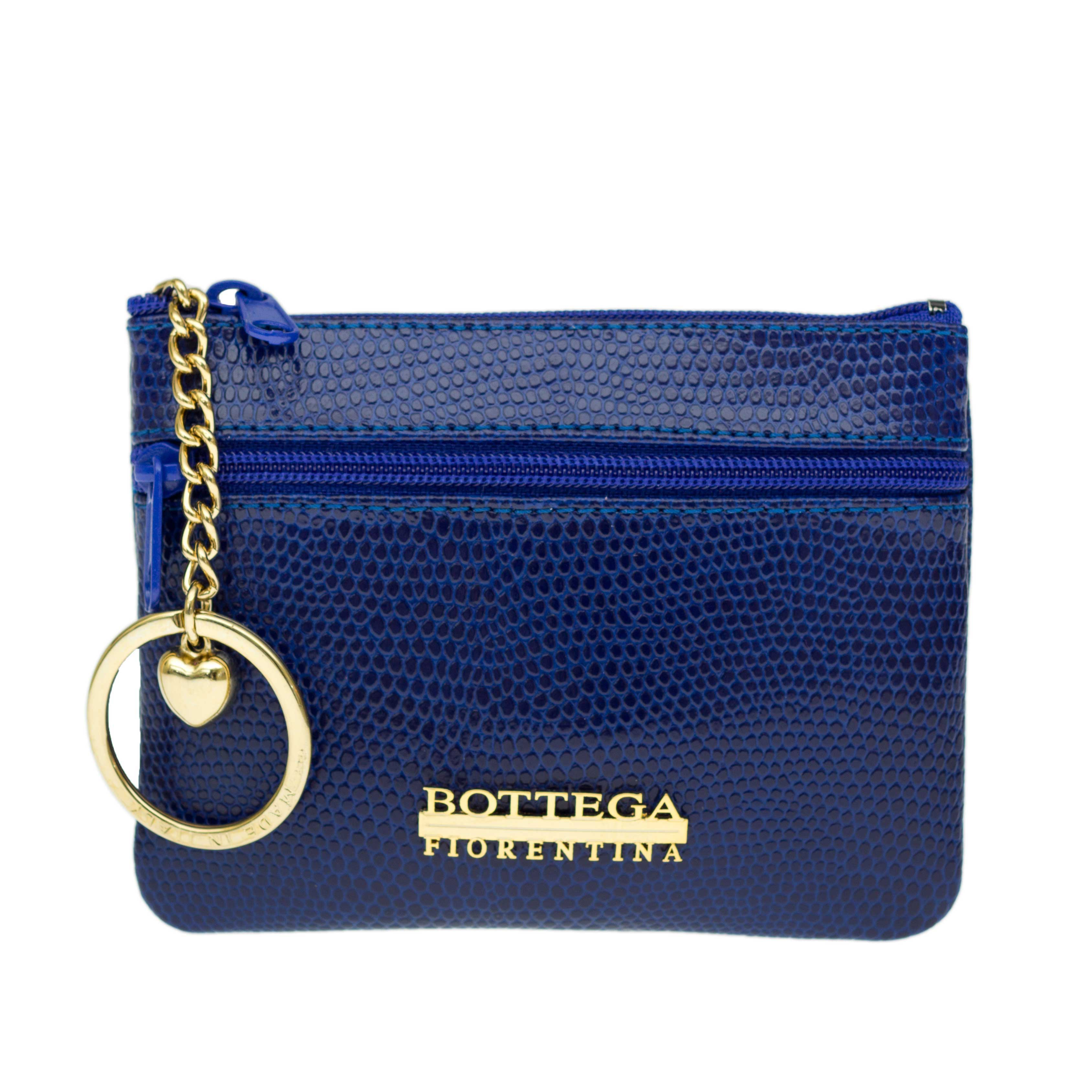 Bottega Fiorentina Italian Made Blue Lizard Print Leather Small Womens Key Case