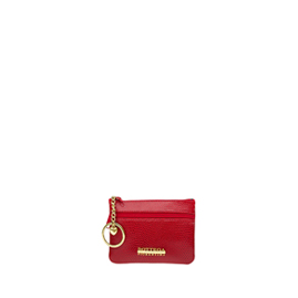 Bottega Fiorentina Italian Made Red Lizard Print Leather Small Womens Key Case