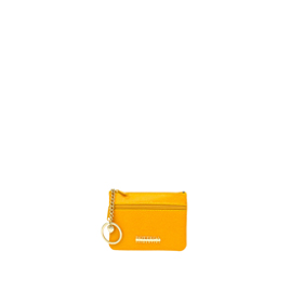Bottega Fiorentina Italian Made Yellow Lizard Print Leather Small Womens Key Case