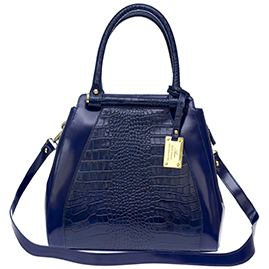 AURA Italian Made Blue Crocodile Embossed Leather Structured Tote