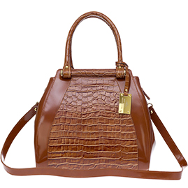 AURA Italian Made Brown Crocodile Embossed Leather Structured Tote