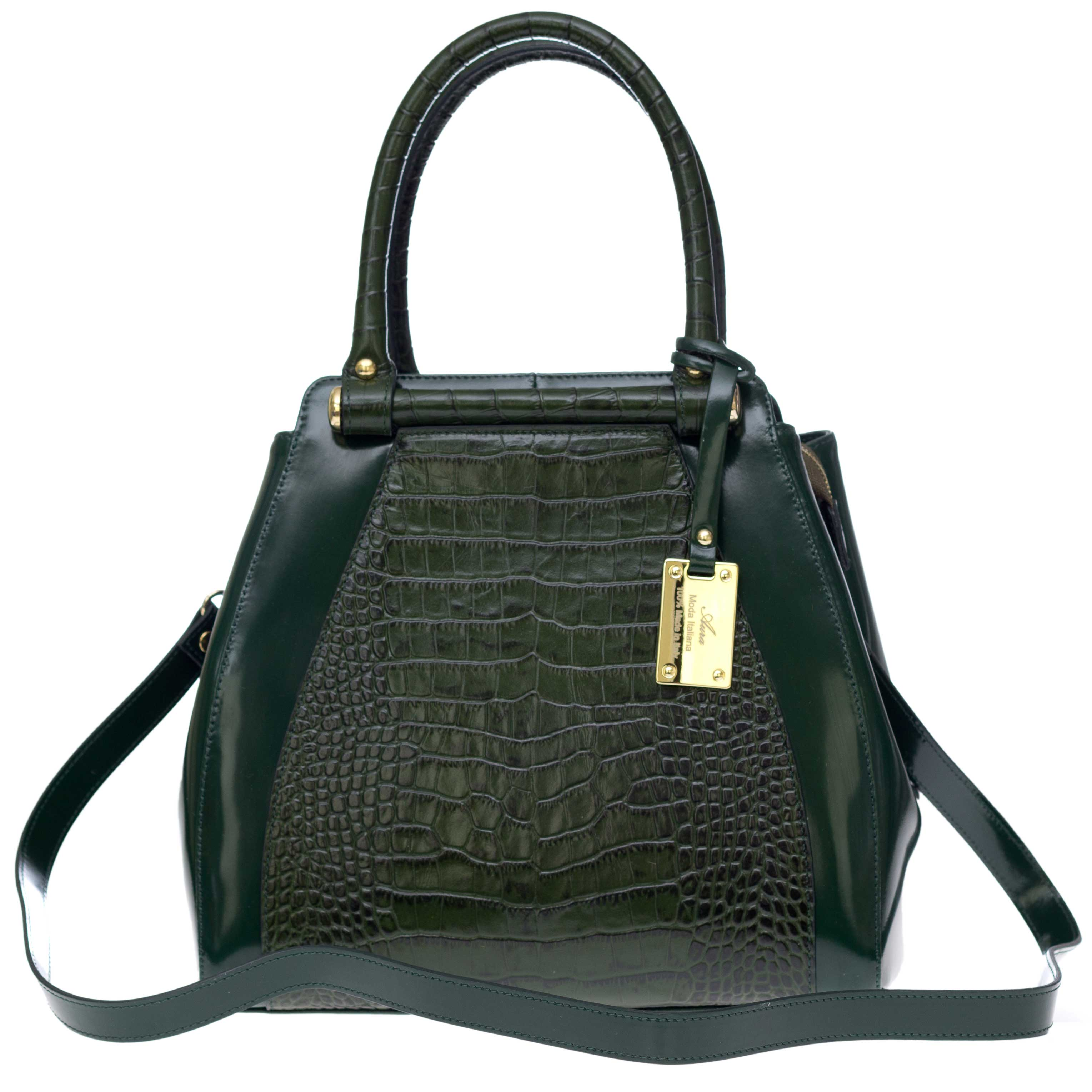 AURA Italian Made Green Crocodile Embossed Leather Structured Tote