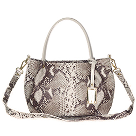 AURA Italian Made Python Embossed Leather Small Tote