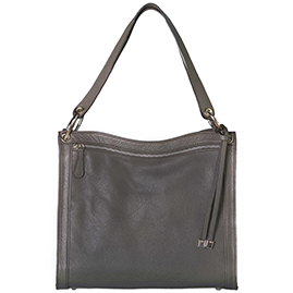 Italian Made Dark Gray Leather Shoulder Bag with Front Zip Pocket By M.A.P. Italy