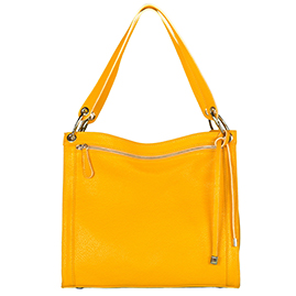 Italian Made Buttercup Yellow Leather Shoulder Bag with Front Zip Pocket By M.A.P. Italy