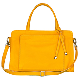 Italian Made Soft Buttercup Yellow Leather Medium Tote Bag with Front Pocket By M.A.P. Italy