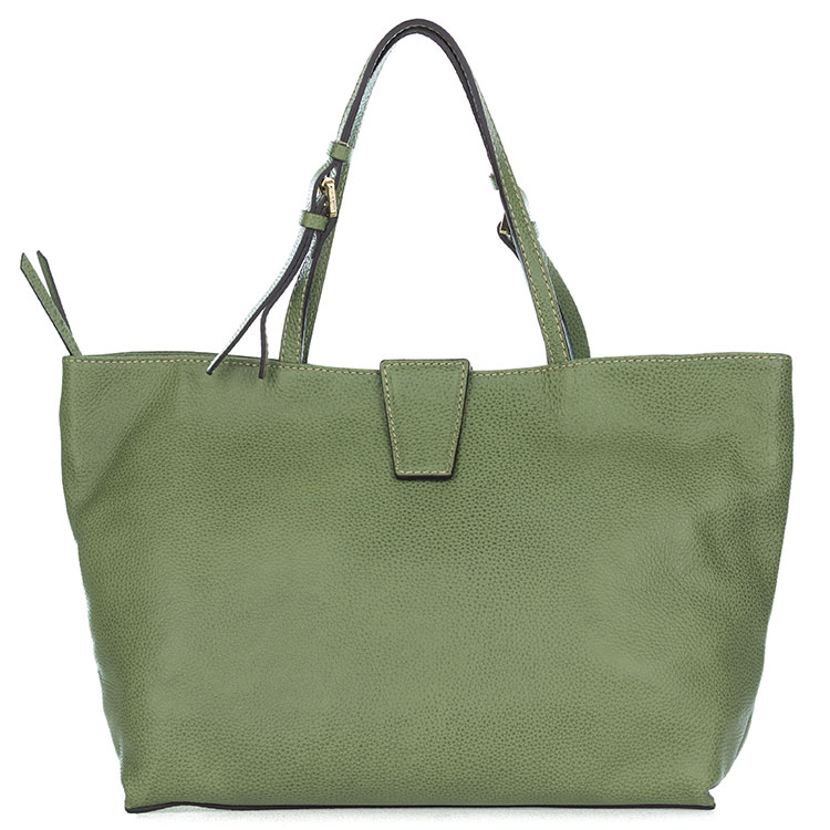 Gianni Chiarini Italian Made Moss Green Pebbled Leather Large Carryall Tote Bag