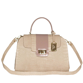 AURA Italian Made Beige Crocodile Embossed Leather Medium Tote