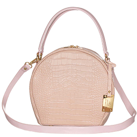 AURA Italian Made Pink Crocodile Embossed Leather Medium Round Tote