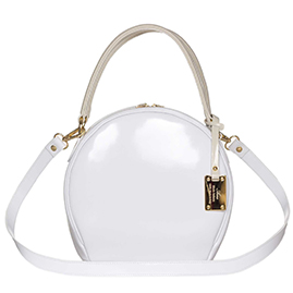 AURA Italian Made White Leather Medium Round Tote