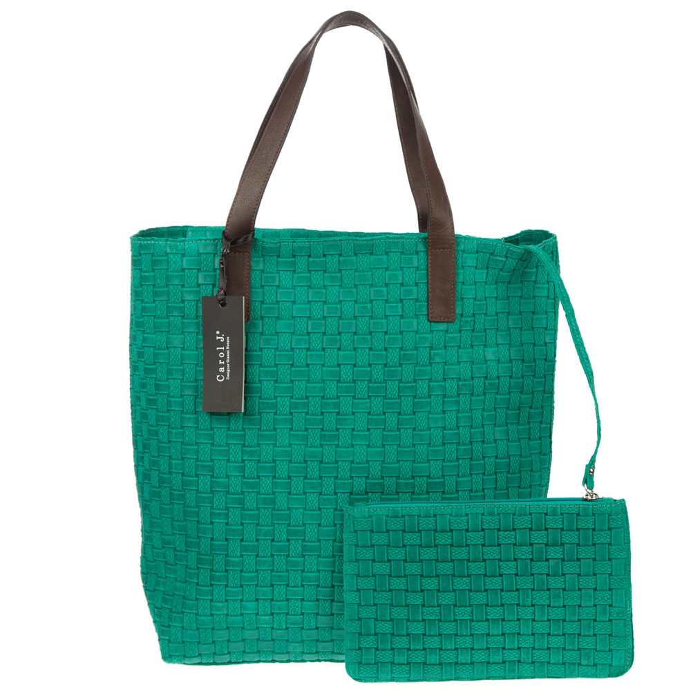 Carol J. Italian Made Turquoise Green Woven Embossed Leather Tote With Pouch