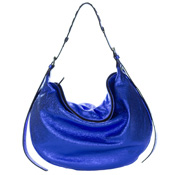 Gianni Chiarini Italian Made Metallic Blue Leather Large Hobo Bag
