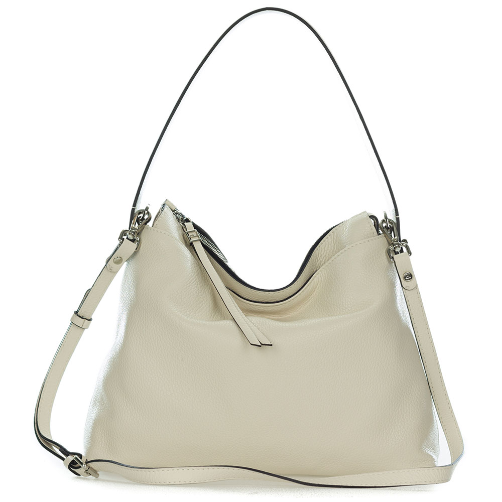Beige Pebbled Leather Slouchy Hobo
