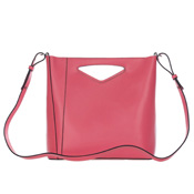 Gianni Chiarini Italian Made Watermelon Pink Leather Structured Crossbody Bag