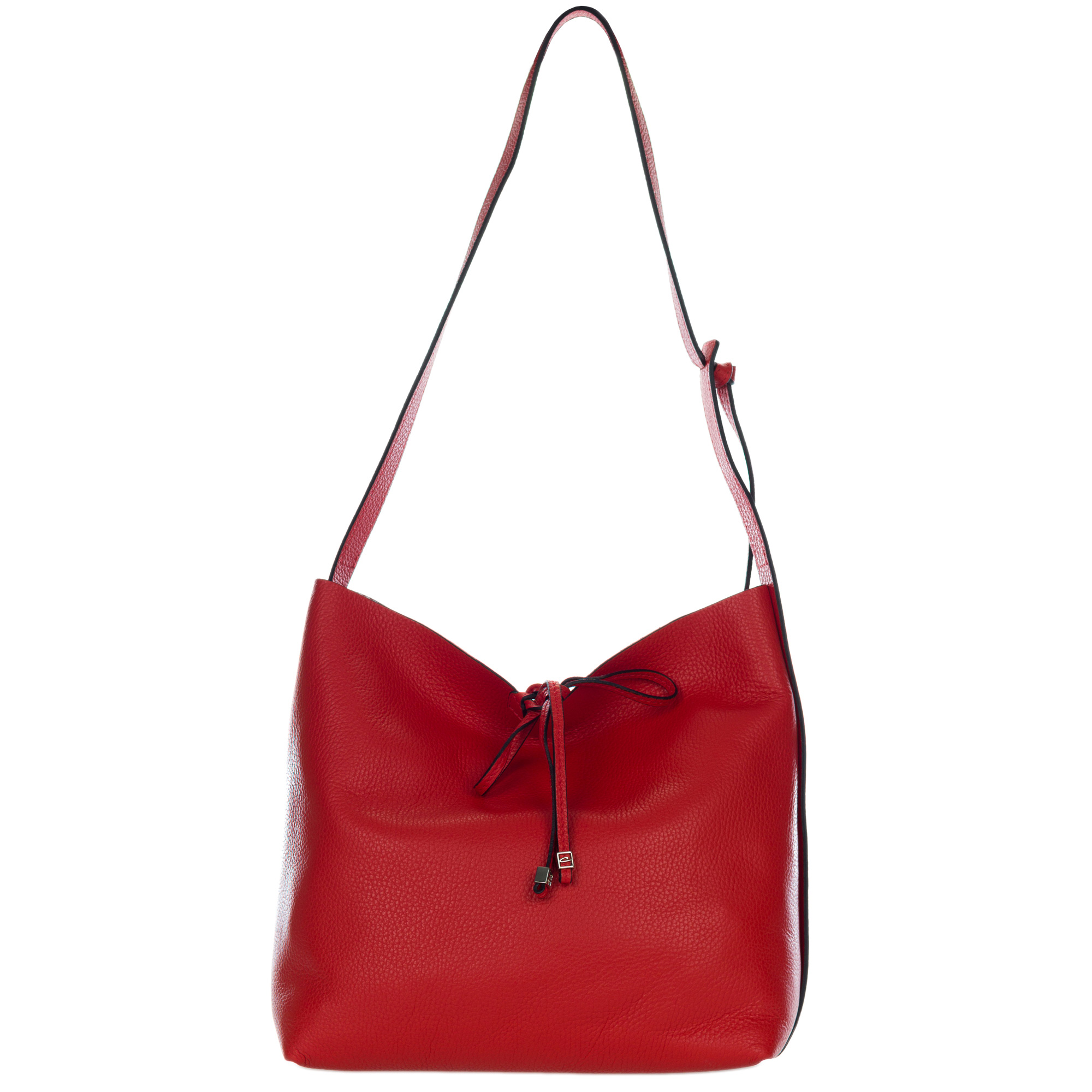Gianni Chiarini Italian Made Red Pebbled Leather Slouchy Open Top Shoulder Bag