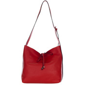 Red Pebbled Leather Slouchy Open Top Shoulder Bag Made in Italy by Gianni Chiarini