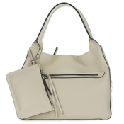 Gianni Chiarini Italian Made Light Beige Leather Large Zip Pocket Carryall Tote Handbag with Pouch