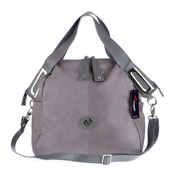 Gray Leather Large Tote Handbag Made in Italy by Megghi