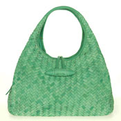 Paolo Masi Italian Made Green Turquoise Hand Woven Leather Purse Handbag