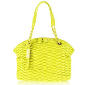 Paolo Masi Italian Made Lemon Yellow Quilted Lamb Leather Designer Shoulder Bag