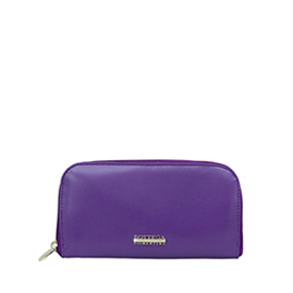 Bottega Fiorentina Italian Made Purple Calf Leather Womens Zip Around Wallet