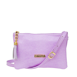 Bottega Fiorentina Italian Made Lilac Lizard Print Leather Small Crossbody Bag