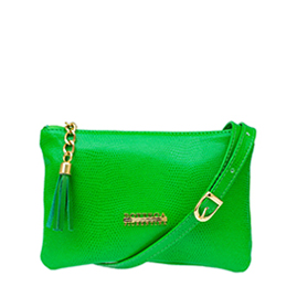 Bottega Fiorentina Italian Made Green Lizard Print Leather Small Crossbody Bag