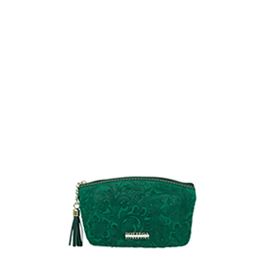 Bottega Fiorentina Italian Made Green Floral Embossed Leather Cosmetic Case