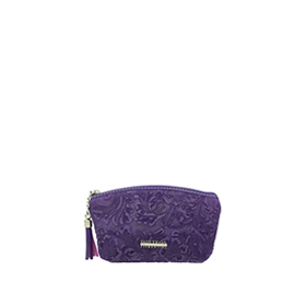 Bottega Fiorentina Italian Made Purple Floral Embossed Leather Cosmetic Case
