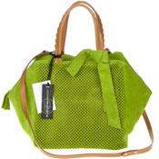 Green Perforated Suede Tote With Bow Made in Italy by Roberta Gandolfi