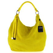 Arcadia Italian Made Yellow Suede Large Slouchy Designer Hobo Bag