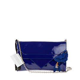Roberta Gandolfi Italian Made Navy Blue Patent Leather Evening Bag Clutch
