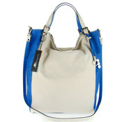 Asia Bellucci Italian Made Off-White & Blue Leather Large Carryall Designer Tote
