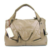 Nicoli Italian Designer Beige Leather Large Tote Handbag