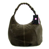 IO Pelle Italian Designer Brown Leather Large Hobo Bag With Pouch