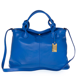 AURA Italian Made Blue Leather Medium Tote Bag