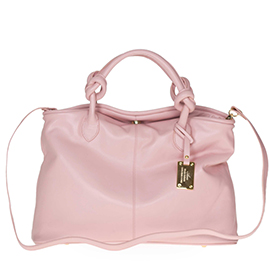 AURA Italian Made Pink Leather Medium Tote Bag